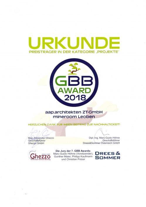 Zertifikat GBB Award 2018
